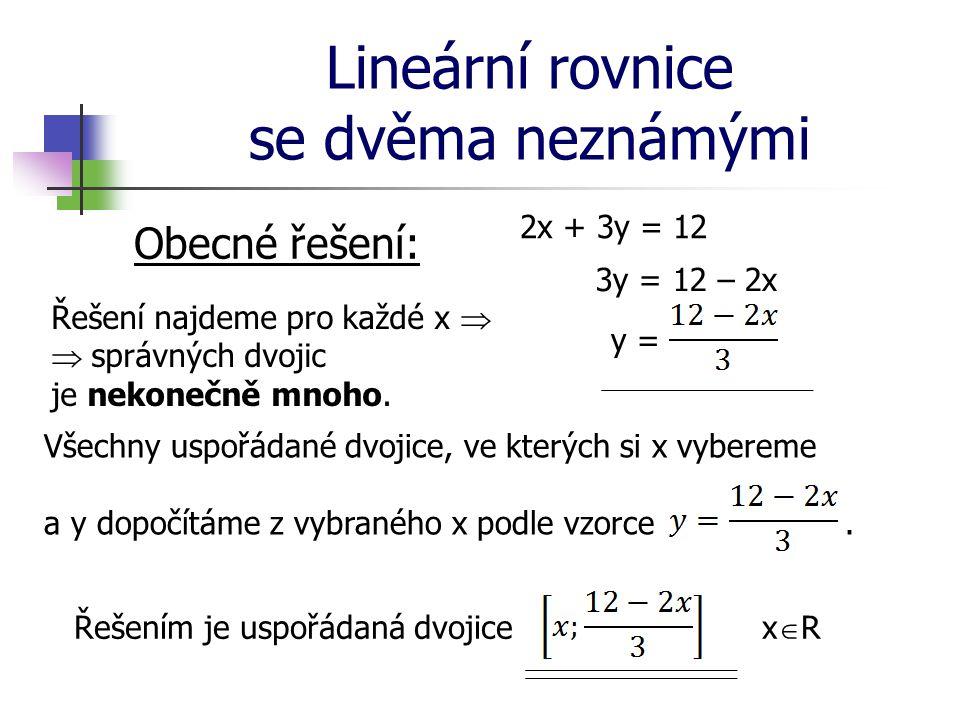 Lineární rovnice se dvěma neznámými Obecné řešení: 2x + 3y = 12 3y = 12 – 2x y = Řešení najdeme pro každé x   správných dvojic je nekonečně mnoho. V