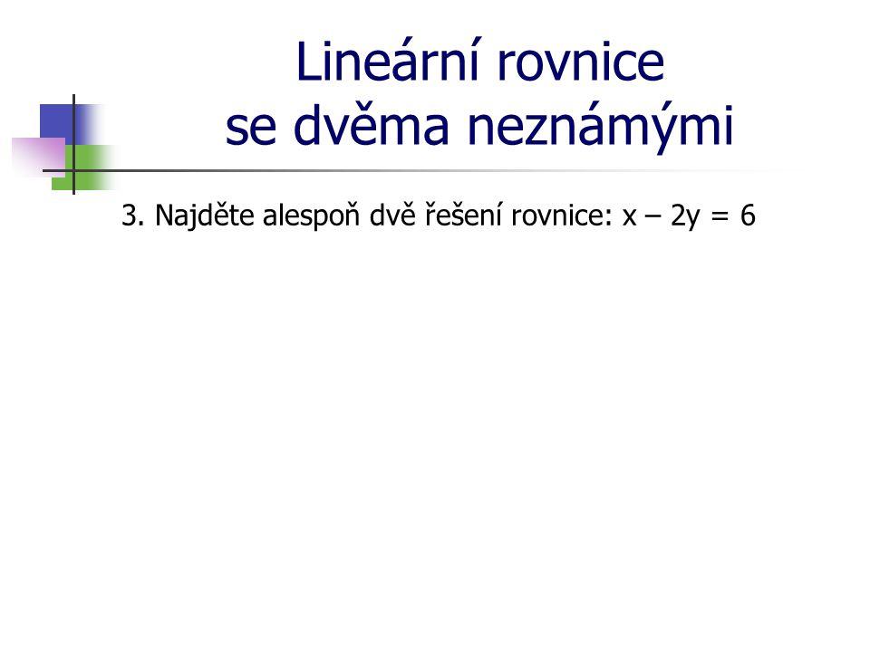 Lineární rovnice se dvěma neznámými 3. Najděte alespoň dvě řešení rovnice: x – 2y = 6