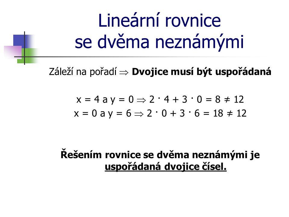 Lineární rovnice se dvěma neznámými Záleží na pořadí  Dvojice musí být uspořádaná x = 4 a y = 0  2 · 4 + 3 · 0 = 8 ≠ 12 x = 0 a y = 6  2 · 0 + 3 ·