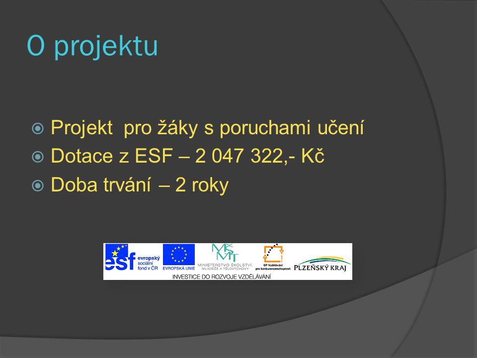 O projektu  Projekt pro žáky s poruchami učení  Dotace z ESF – 2 047 322,- Kč  Doba trvání – 2 roky