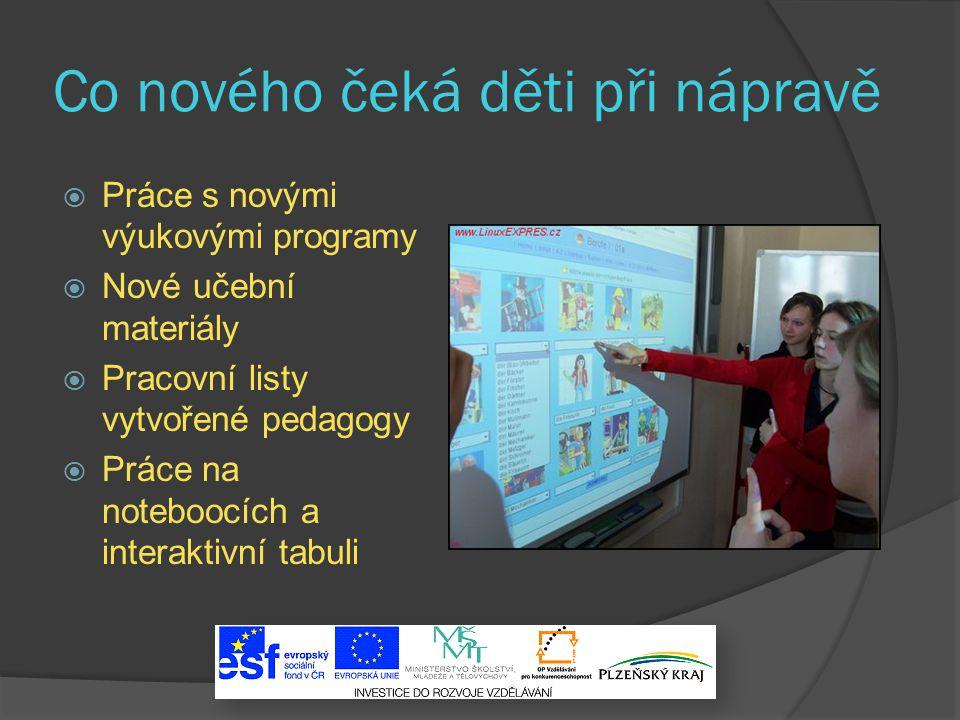Co nového čeká děti při nápravě  Práce s novými výukovými programy  Nové učební materiály  Pracovní listy vytvořené pedagogy  Práce na noteboocích