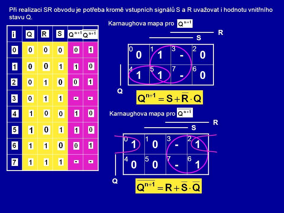 Při realizaci SR obvodu je potřeba kromě vstupních signálů S a R uvažovat i hodnotu vnitřního stavu Q. Karnaughova mapa pro 01-0 11-0 0 4 1 5 3 7 2 6