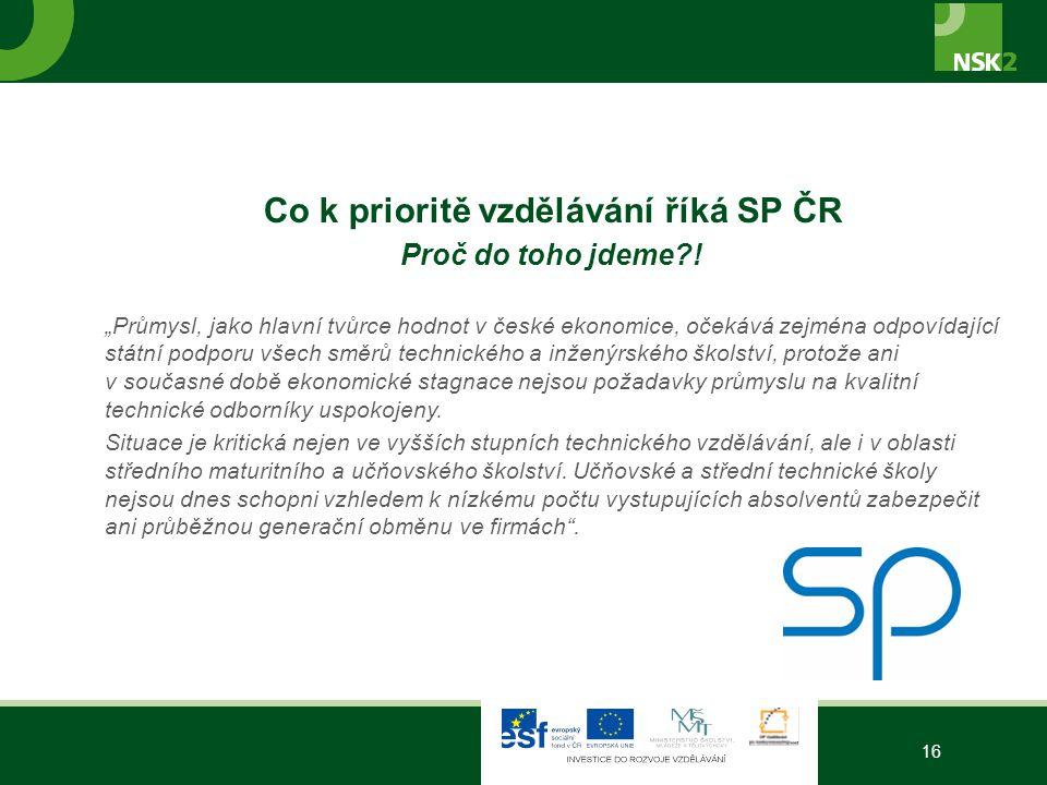 Co k prioritě vzdělávání říká SP ČR Proč do toho jdeme .