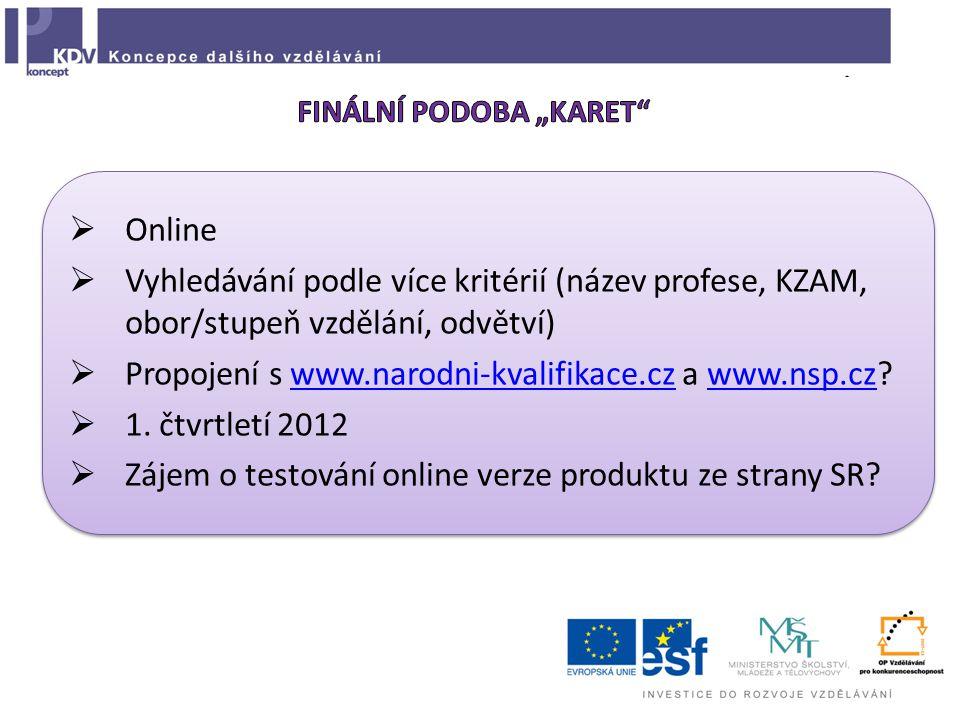  Online  Vyhledávání podle více kritérií (název profese, KZAM, obor/stupeň vzdělání, odvětví)  Propojení s www.narodni-kvalifikace.cz a www.nsp.cz www.narodni-kvalifikace.czwww.nsp.cz  1.
