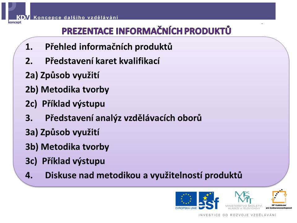  Online  Vyhledávání podle více kritérií (název profese, KZAM, obor/stupeň vzdělání, odvětví)  Propojení s www.narodni-kvalifikace.cz a www.nsp.cz?www.narodni-kvalifikace.czwww.nsp.cz  1.