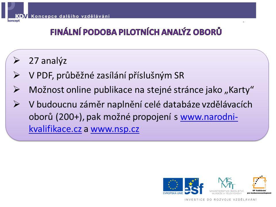 """ 27 analýz  V PDF, průběžné zasílání příslušným SR  Možnost online publikace na stejné stránce jako """"Karty  V budoucnu záměr naplnění celé databáze vzdělávacích oborů (200+), pak možné propojení s www.narodni- kvalifikace.cz a www.nsp.czwww.narodni- kvalifikace.czwww.nsp.cz  27 analýz  V PDF, průběžné zasílání příslušným SR  Možnost online publikace na stejné stránce jako """"Karty  V budoucnu záměr naplnění celé databáze vzdělávacích oborů (200+), pak možné propojení s www.narodni- kvalifikace.cz a www.nsp.czwww.narodni- kvalifikace.czwww.nsp.cz"""