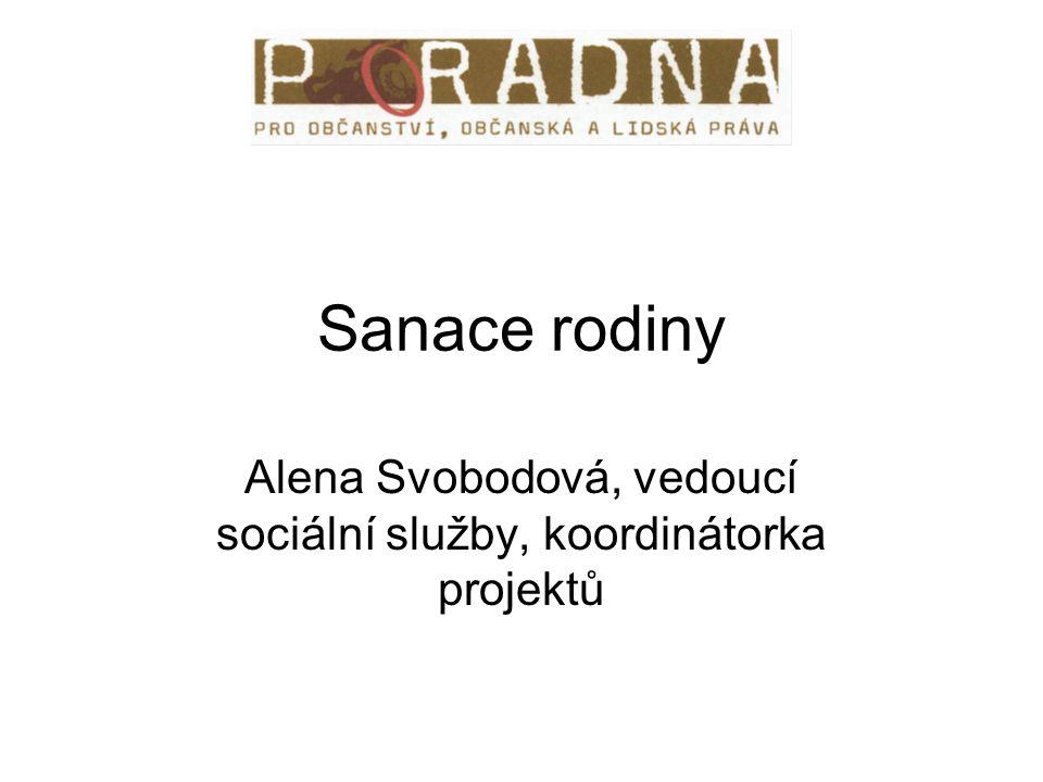 Sanace rodiny Alena Svobodová, vedoucí sociální služby, koordinátorka projektů