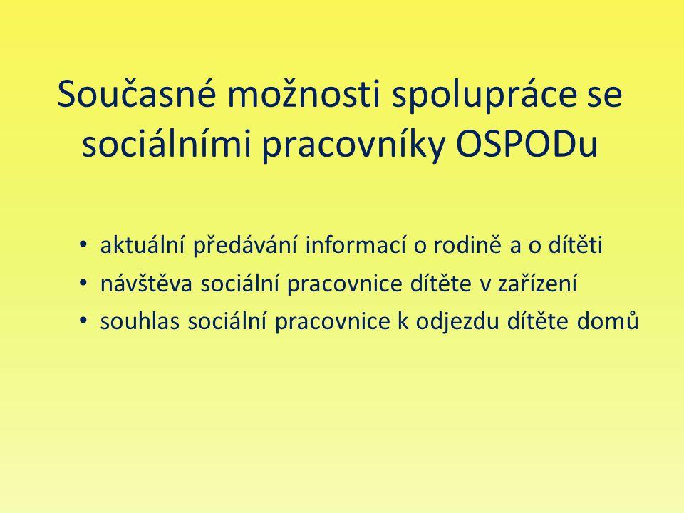 Současné možnosti spolupráce se sociálními pracovníky OSPODu aktuální předávání informací o rodině a o dítěti návštěva sociální pracovnice dítěte v za