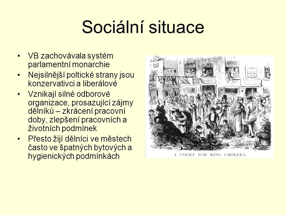 Sociální situace VB zachovávala systém parlamentní monarchie Nejsilnější poltické strany jsou konzervativci a liberálové Vznikají silné odborové organ