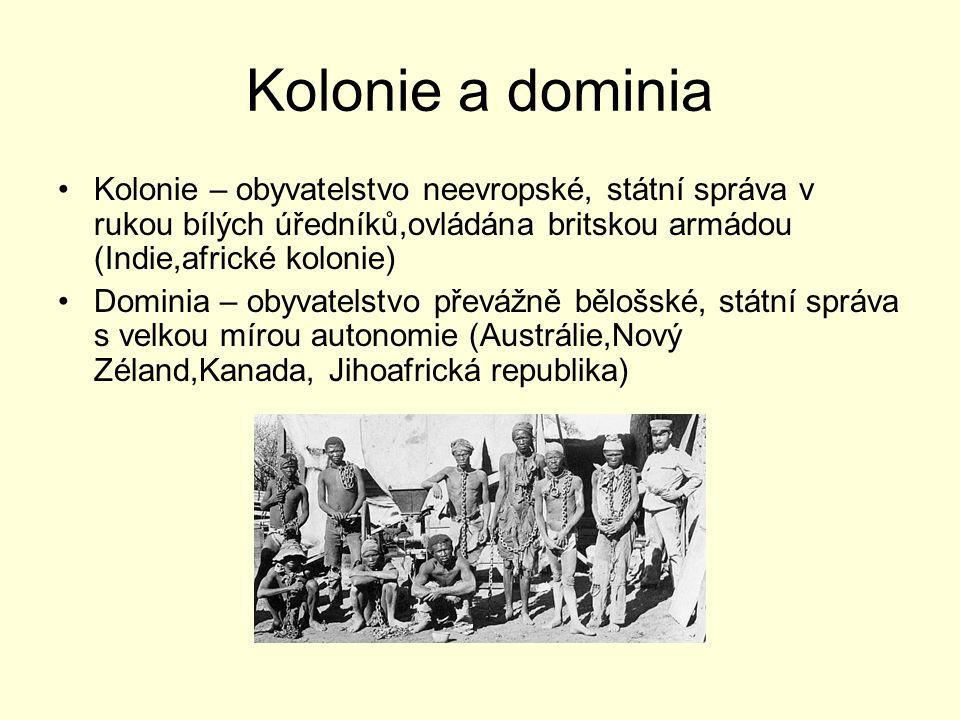 Kolonie a dominia Kolonie – obyvatelstvo neevropské, státní správa v rukou bílých úředníků,ovládána britskou armádou (Indie,africké kolonie) Dominia –