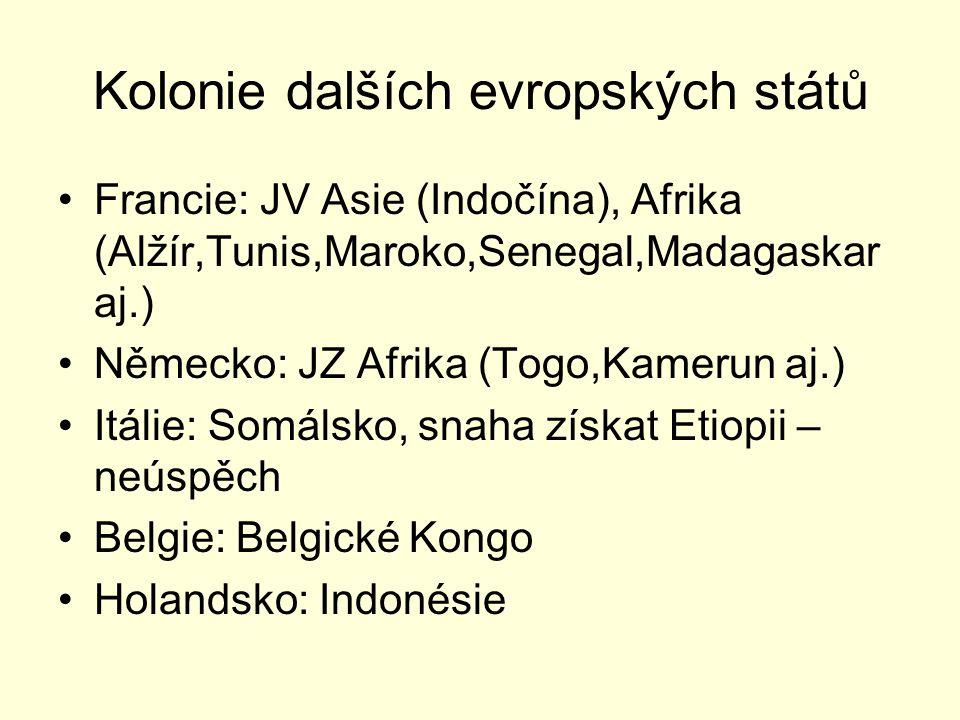 Kolonie dalších evropských států Francie: JV Asie (Indočína), Afrika (Alžír,Tunis,Maroko,Senegal,Madagaskar aj.) Německo: JZ Afrika (Togo,Kamerun aj.)