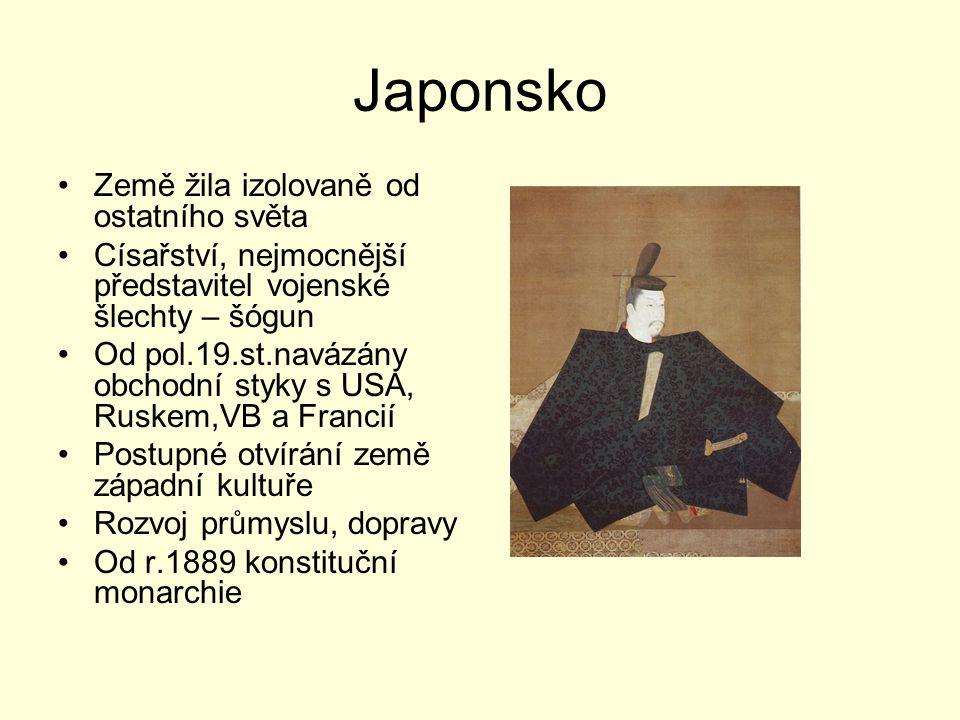 Japonsko Země žila izolovaně od ostatního světa Císařství, nejmocnější představitel vojenské šlechty – šógun Od pol.19.st.navázány obchodní styky s US