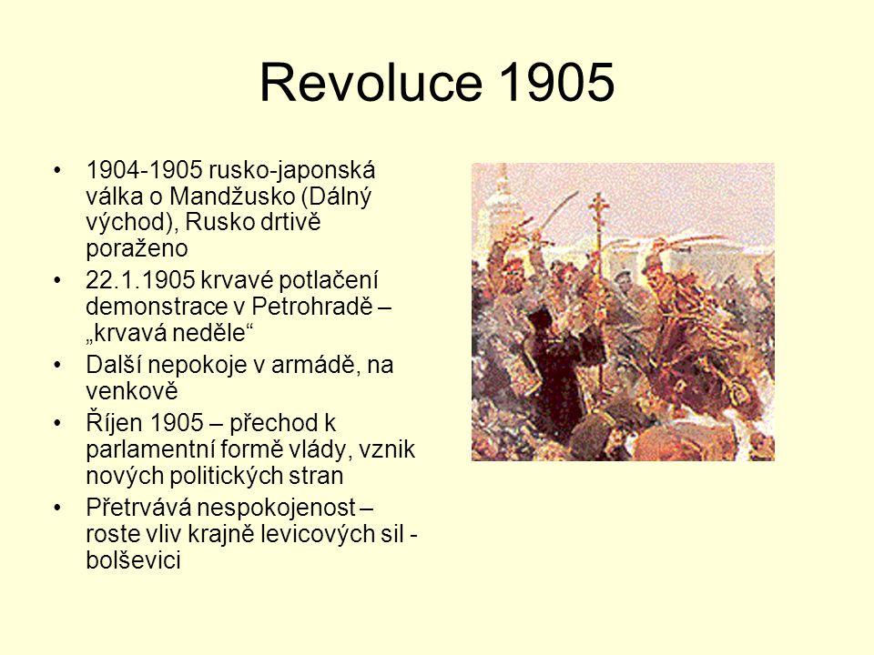 """Revoluce 1905 1904-1905 rusko-japonská válka o Mandžusko (Dálný východ), Rusko drtivě poraženo 22.1.1905 krvavé potlačení demonstrace v Petrohradě – """""""