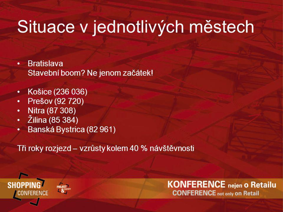 Situace v jednotlivých městech Bratislava Stavební boom? Ne jenom začátek! Košice (236 036) Prešov (92 720) Nitra (87 308) Žilina (85 384) Banská Byst
