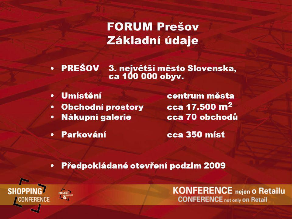FORUM Prešov Základní údaje PREŠOV 3. největší město Slovenska, ca 100 000 obyv. Umístěnícentrum města Obchodní prostorycca 17.500 m 2 Nákupní galerie