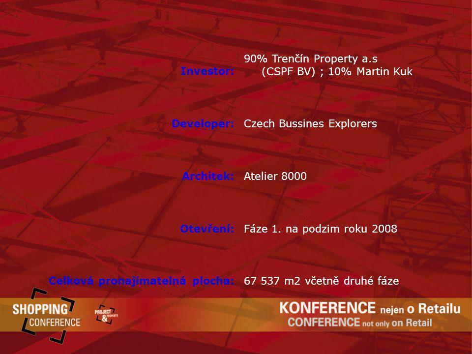 Investor: 90% Trenčín Property a.s (CSPF BV) ; 10% Martin Kuk Developer:Czech Bussines Explorers Architek:Atelier 8000 Otevření:Fáze 1. na podzim roku