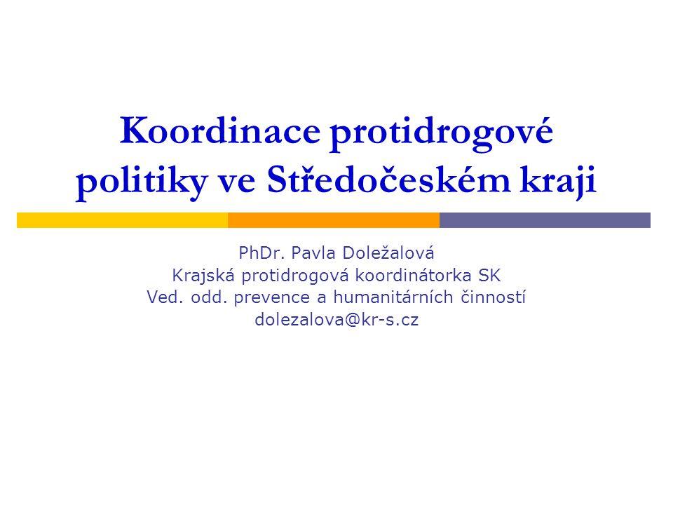 Koordinace protidrogové politiky ve Středočeském kraji PhDr. Pavla Doležalová Krajská protidrogová koordinátorka SK Ved. odd. prevence a humanitárních