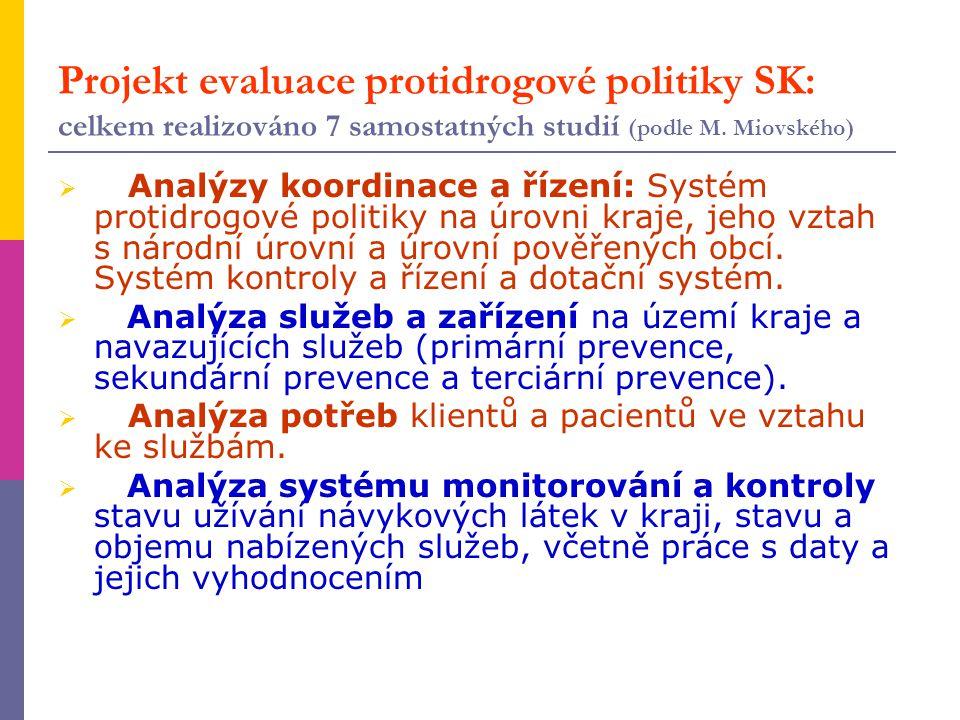 Projekt evaluace protidrogové politiky SK: celkem realizováno 7 samostatných studií (podle M. Miovského)  Analýzy koordinace a řízení: Systém protidr