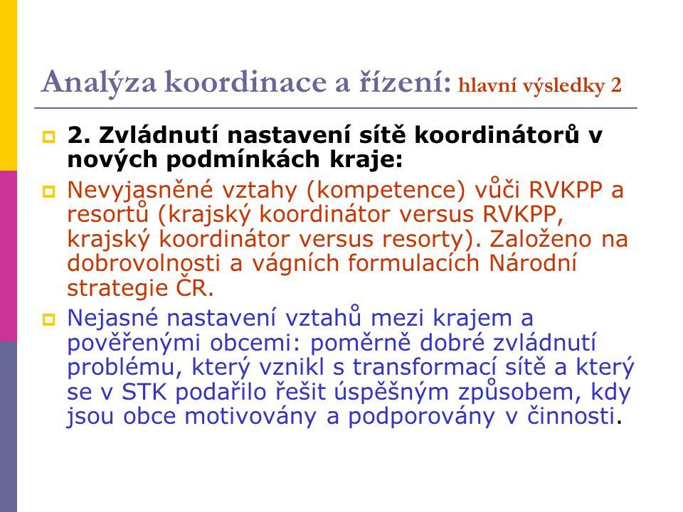 Analýza koordinace a řízení: hlavní výsledky 2  2. Zvládnutí nastavení sítě koordinátorů v nových podmínkách kraje:  Nevyjasněné vztahy (kompetence)