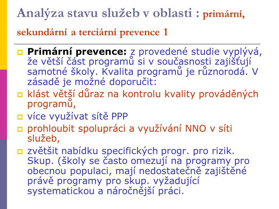 Analýza stavu služeb v oblasti : primární, sekundární a terciární prevence 1  Primární prevence: z provedené studie vyplývá, že větší část programů s