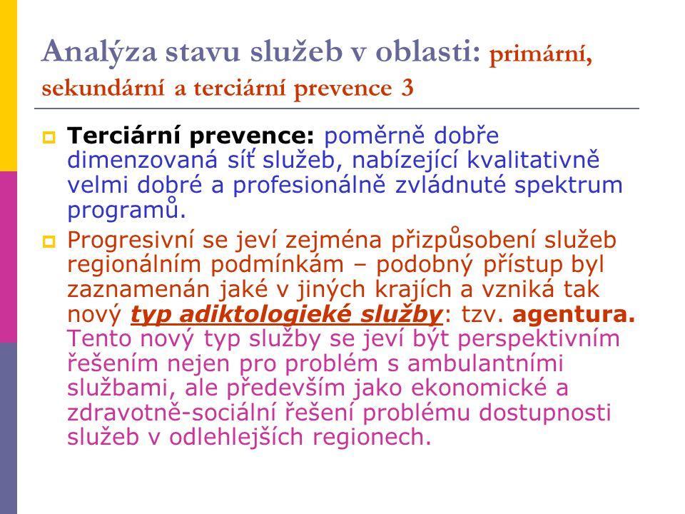 Analýza stavu služeb v oblasti: primární, sekundární a terciární prevence 3  Terciární prevence: poměrně dobře dimenzovaná síť služeb, nabízející kva