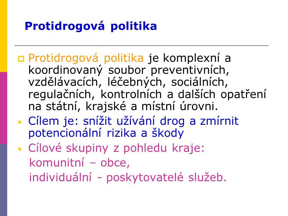 Protidrogová politika je komplexní a koordinovaný soubor preventivních, vzdělávacích, léčebných, sociálních, regulačních, kontrolních a dalších opatření na státní, krajské a místní úrovni.