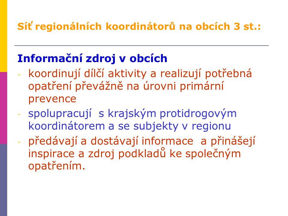 Síť regionálních koordinátorů na obcích 3 st.: Informační zdroj v obcích - koordinují dílčí aktivity a realizují potřebná opatření převážně na úrovni