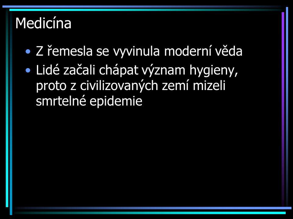 Medicína Z řemesla se vyvinula moderní věda Lidé začali chápat význam hygieny, proto z civilizovaných zemí mizeli smrtelné epidemie