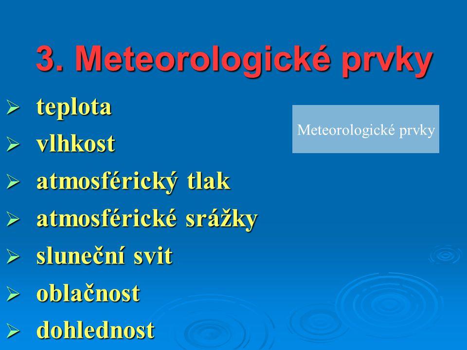 3. Meteorologické prvky  teplota  vlhkost  atmosférický tlak  atmosférické srážky  sluneční svit  oblačnost  dohlednost Meteorologické prvky
