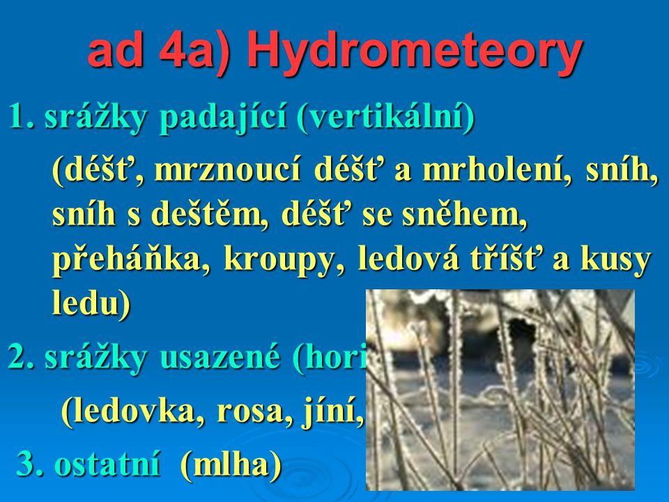 ad 4a) Hydrometeory 1. srážky padající (vertikální) (déšť, mrznoucí déšť a mrholení, sníh, sníh s deštěm, déšť se sněhem, přeháňka, kroupy, ledová tří