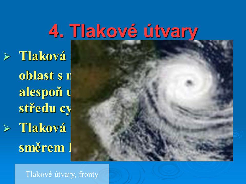 4. Tlakové útvary  Tlaková níže (cyklóna) oblast s nižším tlakem vzduchu, alespoň uzavřená 1 izobara, tlak ke středu cyklóny klesá  Tlaková výše (an