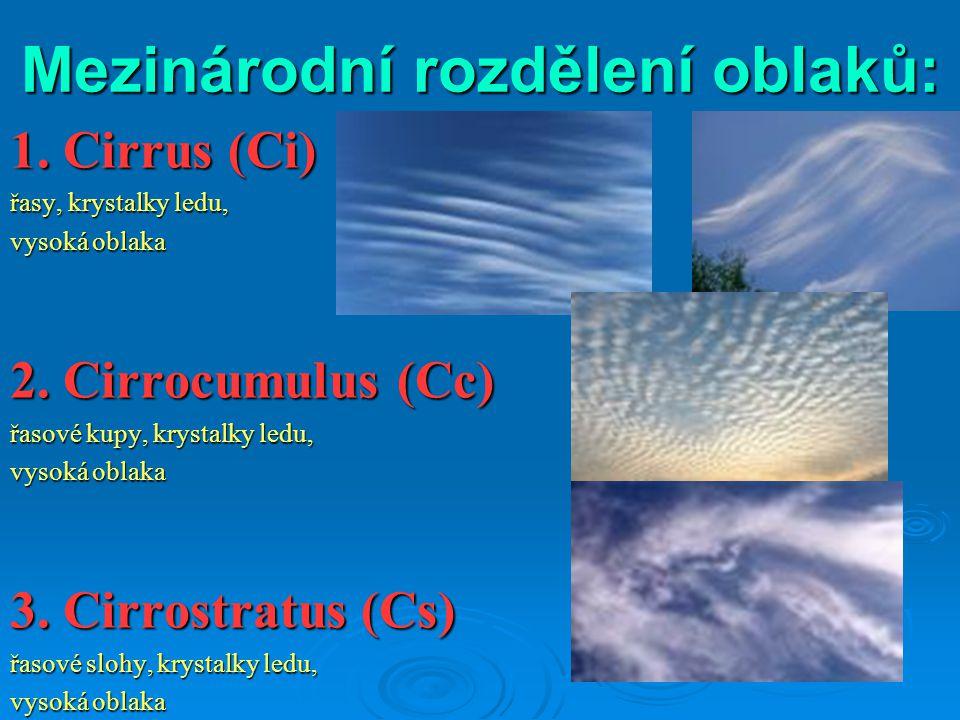 Mezinárodní rozdělení oblaků: 1. Cirrus (Ci) řasy, krystalky ledu, vysoká oblaka 2. Cirrocumulus (Cc) řasové kupy, krystalky ledu, vysoká oblaka 3. Ci