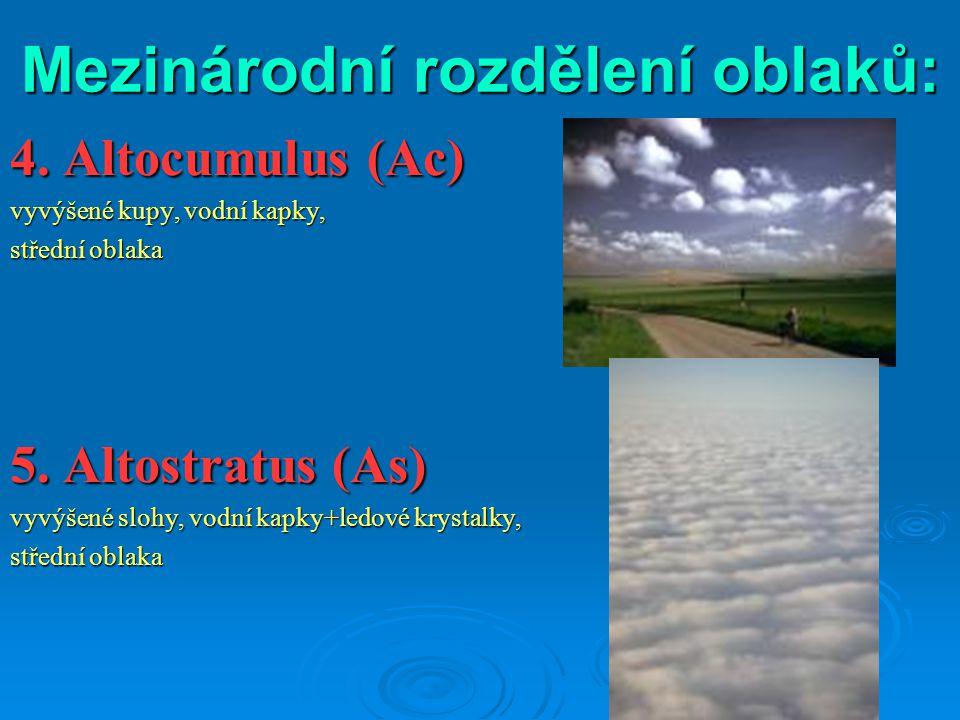 Mezinárodní rozdělení oblaků: 4. Altocumulus (Ac) vyvýšené kupy, vodní kapky, střední oblaka 5. Altostratus (As) vyvýšené slohy, vodní kapky+ledové kr