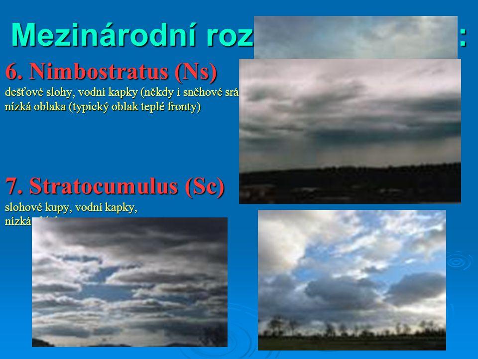 Mezinárodní rozdělení oblaků: 6. Nimbostratus (Ns) dešťové slohy, vodní kapky (někdy i sněhové srážky), nízká oblaka (typický oblak teplé fronty) 7. S