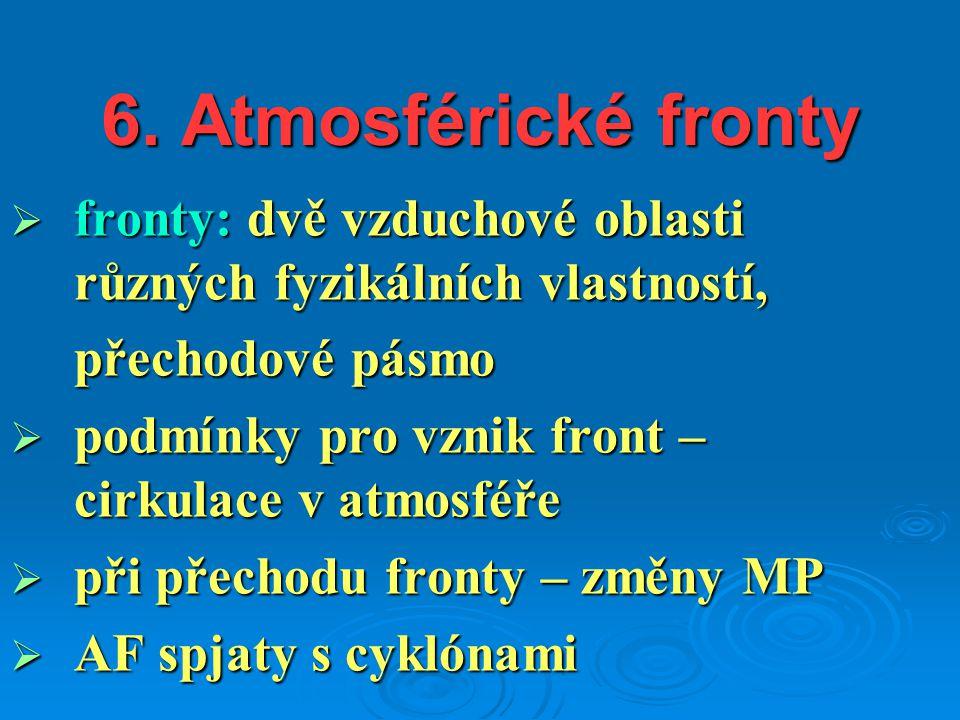 6. Atmosférické fronty  fronty: dvě vzduchové oblasti různých fyzikálních vlastností, přechodové pásmo  podmínky pro vznik front – cirkulace v atmos
