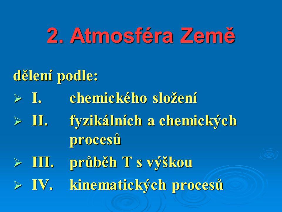 2. Atmosféra Země dělení podle:  I.chemického složení  II. fyzikálních a chemických procesů  III. průběh T s výškou  IV. kinematických procesů