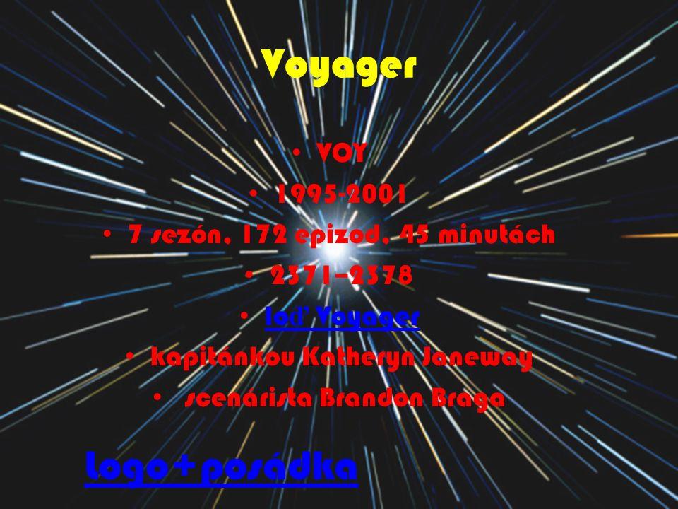Voyager VOY 1995-2001 7 sezón, 172 epizod, 45 minutách 2371–2378 lo ď Voyager lo ď Voyager kapitánkou Katheryn Janeway scenárista Brandon Braga Logo+p