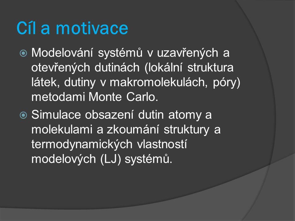 Cíl a motivace  Modelování systémů v uzavřených a otevřených dutinách (lokální struktura látek, dutiny v makromolekulách, póry) metodami Monte Carlo.