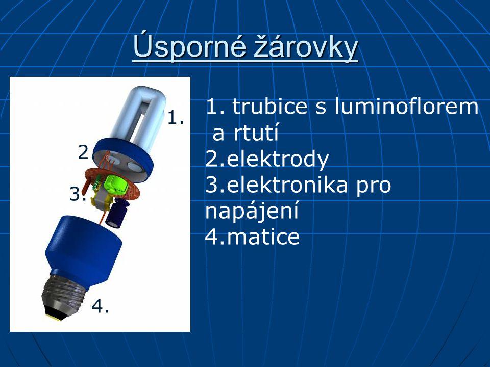 Úsporné žárovky 1.trubice s luminoflorem a rtutí 2.elektrody 3.elektronika pro napájení 4.matice 1.