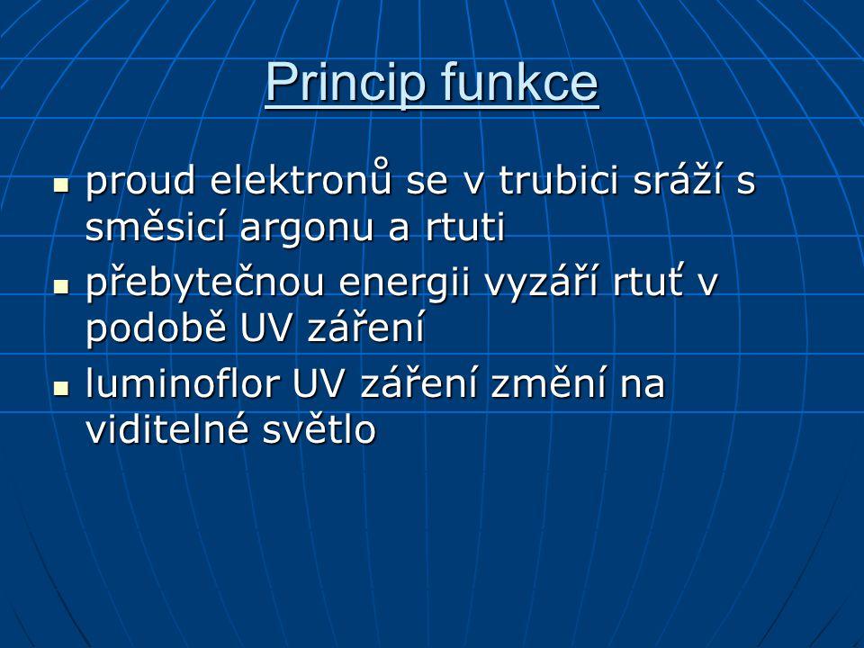 Princip funkce proud elektronů se v trubici sráží s směsicí argonu a rtuti proud elektronů se v trubici sráží s směsicí argonu a rtuti přebytečnou ene