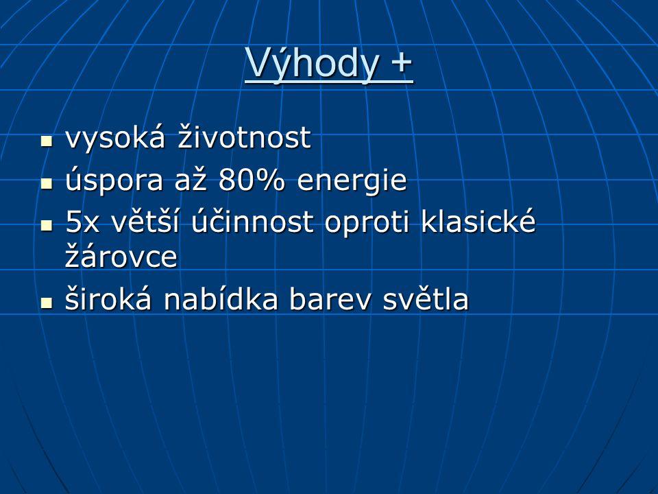 Výhody + vysoká životnost vysoká životnost úspora až 80% energie úspora až 80% energie 5x větší účinnost oproti klasické žárovce 5x větší účinnost opr