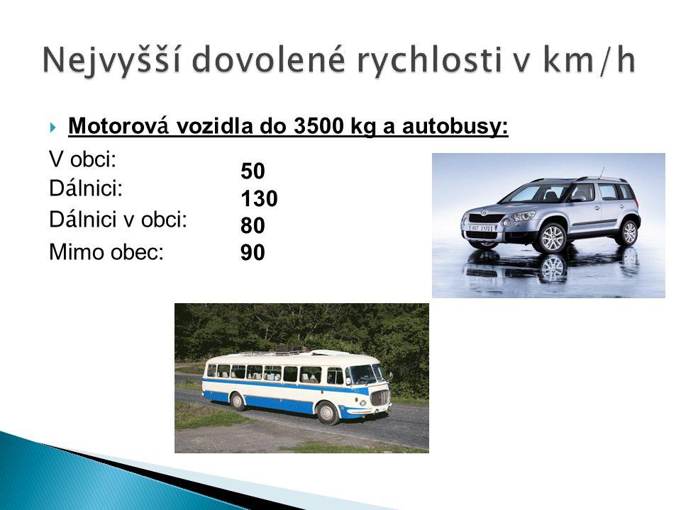  Motorov á vozidla do 3500 kg a autobusy: V obci: D á lnici: D á lnici v obci: Mimo obec: Nejvyšší dovolené rychlosti v km/h 50 130 80 90
