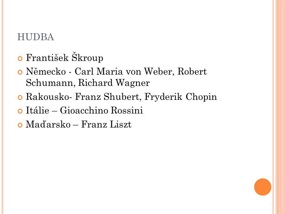 HUDBA František Škroup Německo - Carl Maria von Weber, Robert Schumann, Richard Wagner Rakousko- Franz Shubert, Fryderik Chopin Itálie – Gioacchino Ro