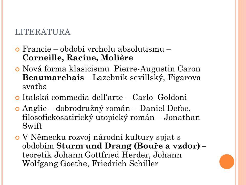 LITERATURA Francie – období vrcholu absolutismu – Corneille, Racine, Molière Nová forma klasicismu Pierre-Augustin Caron Beaumarchais – Lazebník sevil