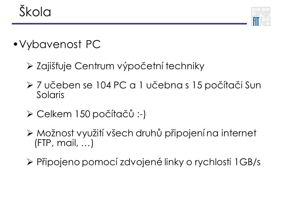 Škola Vybavenost PC  Zajišťuje Centrum výpočetní techniky  7 učeben se 104 PC a 1 učebna s 15 počítači Sun Solaris  Celkem 150 počítačů :-)  Možnost využití všech druhů připojení na internet (FTP, mail, …)  Připojeno pomocí zdvojené linky o rychlosti 1GB/s