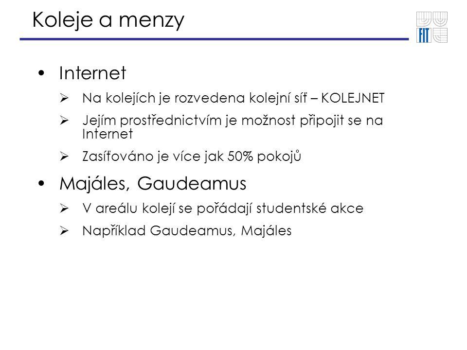 Koleje a menzy Internet  Na kolejích je rozvedena kolejní síť – KOLEJNET  Jejím prostřednictvím je možnost připojit se na Internet  Zasíťováno je v