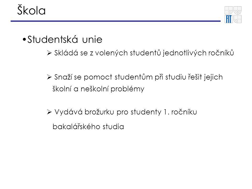 Škola Studentská unie  Skládá se z volených studentů jednotlivých ročníků  Snaží se pomoct studentům při studiu řešit jejich školní a neškolní probl