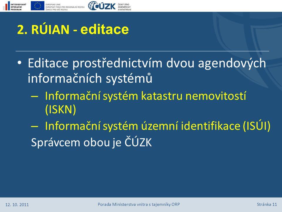 Stránka 11 Editace prostřednictvím dvou agendových informačních systémů – Informační systém katastru nemovitostí (ISKN) – Informační systém územní identifikace (ISÚI) Správcem obou je ČÚZK 2.