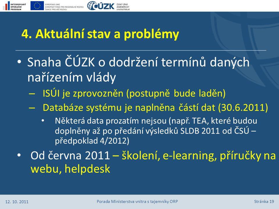 Stránka 19 Snaha ČÚZK o dodržení termínů daných nařízením vlády – ISÚI je zprovozněn (postupně bude laděn) – Databáze systému je naplněna částí dat (30.6.2011) Některá data prozatím nejsou (např.