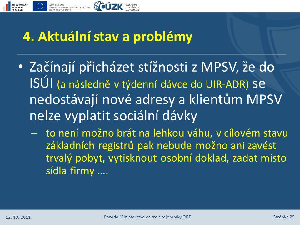 Stránka 25 Začínají přicházet stížnosti z MPSV, že do ISÚI (a následně v týdenní dávce do UIR-ADR) se nedostávají nové adresy a klientům MPSV nelze vy